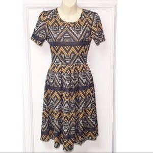 LuLaRoe Amelia Geometric Print Dress | Size Small